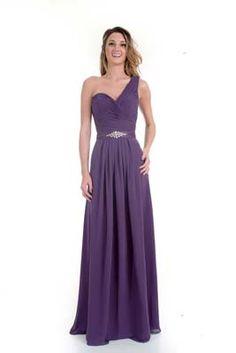 97ec05d5a1 One shoulder beaded waist long chiffon bridesmaids dress One Shoulder Bridesmaid  Dresses