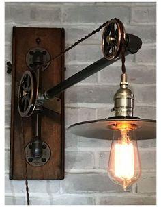Vintage Industrial Lighting, Industrial Light Fixtures, Rustic Lighting, Industrial House, Vintage Lamps, Lighting Design, Industrial Lamps, Industrial Furniture, Industrial Interiors