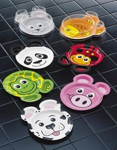 Another option: animal-shaped paper plates. Already have two packs of these, but the animals don't match with the ones in the original Brown Bear book.