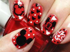 Flamingo Nails & French Manicure, Today's nail art design I wanted to bring you something fun , Fancy Nails, Red Nails, Cute Nails, Pretty Nails, Hair And Nails, Mickey Mouse Nail Art, Mickey Mouse Nails, Minnie Mouse, Disney Mickey