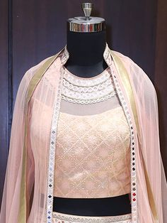 Shop Shop Light Peach Jacket Style Lehenga Choli by G3+ Video Shopping online from G3fashion India. Brand - G3, Product code - G3VS8, Price - , Color - Peach, Fabric - Brocade, Net,