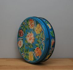 Vintage Cadbury Roses chocolates tin, round blue floral tin, English candy