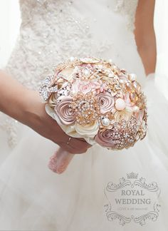 Gold Wedding Bouquet Bridal Bouquet Wedding Brooch Bouquet