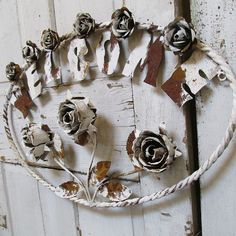 Metal toleware rose welcome sign rusty white by AnitaSperoDesign