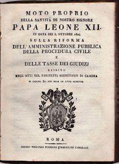 Moto Proprio della Santità ...Papa Leone XII sulla riforma.. 1824-L5384