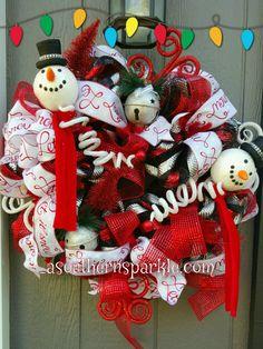 Snowman wreath @Facebook.com/Southernsparklewreathsanddecor