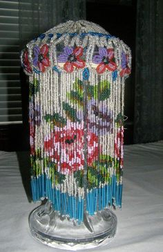 Exquisite early antique czech glass beaded lamp light shade floral vintage beaded fringe vintage beaded lamp shade beautiful flower design on fringe aloadofball Gallery