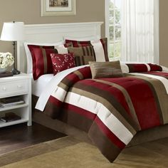 Madison Park Boulder Stripe 7 Piece Comforter Set In Red Ricky Chidzambwa Brown And Bedroom