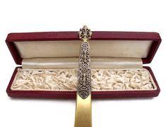 French antique Filigree Fleur de lis Gold plated Ladies Paper