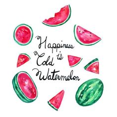 Watercolor Watermelon, Melon Print, Kitchen Wall, Gallery Wall Art,... ❤ liked on Polyvore featuring home, home decor, wall art, quotes, filler, text, borders, phrase, picture frame and saying