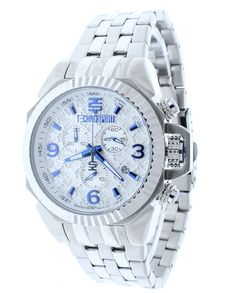 Technosport TS-100-6RL Unisex Chronograph Swiss Stainless Steel Watch Blue Accented On White Dial