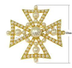 Zinklegierung Broschen, mit Harz, Kreuz, goldfarben plattiert, frei von Nickel, Blei & Kadmium, 50x50x9mm