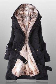 Black Parka with Faux Fur Lining   deepblue - Clothing on ArtFire