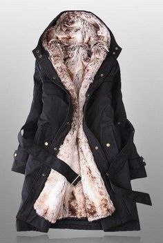 d6443fed93 Winter Coats For Women With Faux Fur Lining In Black