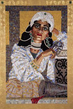 'Queen Esther Revealing Her True Identity', 2006, mosaic by Lilian Broca.  Iridium smalti, gems, gold tessera, gold leaf on panel.  .