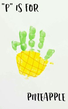 """Buchstabe """"P"""" Ananas Handabdruck Kunst für Kinder im Vorschulalter [Preschool Or Daycare – What To Choose? This is an individual decision and depends . Letter P Crafts, Abc Crafts, Alphabet Crafts, Daycare Crafts, Classroom Crafts, Toddler Crafts, Preschool Crafts, Crafts For Kids, Letter P Activities"""