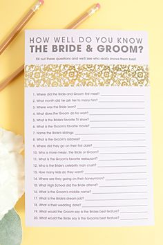 How Well Do You Know the Bride & Groom? – Break the ice with this free printable bridal shower game. Wedding Games, Wedding Planning, Wedding Ideas, Bridal Games, Wedding Stuff, Couples Wedding Shower Games, Diy Wedding, Reception Games, Trendy Wedding
