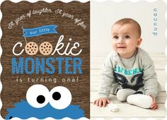 Cookie Monster Photo First Birthday Invitations by PurpleTrail.com. #fallfirstbirthday #cookiemonsterfirstbirthday #1stbirthdayinvitations
