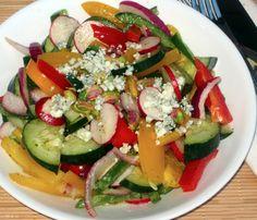 Rainbow Salad with Honey-Lemon Dressing #saladrecipes