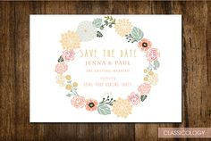 Save The Date Rustic Floral Wedding Invitation  by Classicology, $15.00