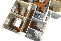 Vista de detalle de zona de dormitorios y baños.