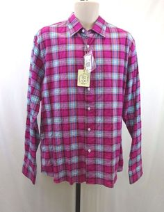 Men's Plaid Shirt Pink Blue Stamp Milano Borromed CMP Italiane Large NWT  #Stamp #ButtonFront