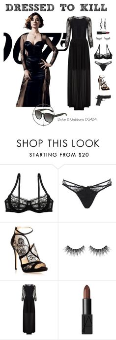 """""""Dressed to Kill: Bérénice Marlohe"""" by visiondirect ❤ liked on Polyvore featuring Agent Provocateur, Jimmy Choo, Huda Beauty, Temperley London, NARS Cosmetics, Dolce&Gabbana, CelebrityStyle and jamesbond"""