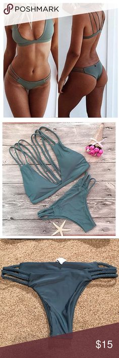 Green Bikini BOTTOMS Green cheeky bikini bottoms with braided detail Swim Bikinis
