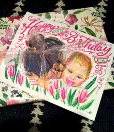 custom birthday card portrait drawing by andrea casey