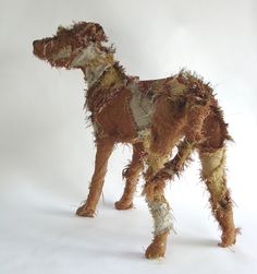 Shaggy Dogs and other fabric creatures — Barbara Franc Paper Mache Sculpture, Dog Sculpture, Fabric Animals, Sock Animals, Marionette, Fabric Art, Dog Art, Oeuvre D'art, Textile Art