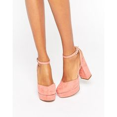 ALDO Shery Ankle Strap Platform Heeled Shoes ($85) ❤ liked on Polyvore featuring shoes, pink, pink shoes, platform shoes, chunky platform shoes, aldo and high heel shoes