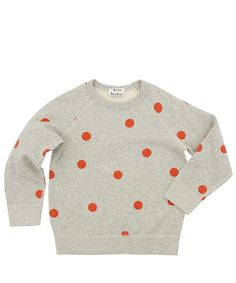Acne Miniature Age 4 to 10 Grey Mini College Dot Print Cotton Sweatshirt