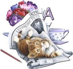 Alfabeto de mimoso gatito jugando con el periódico.