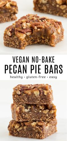 These no-bake pecan pie bars are deliciously sweet perfectly nutty and super easy to make! This fall recipe takes classic pecan pie and transforms it into healthy vegan gluten-free bars. Plus no corn syrup is needed! Dessert Parfait, Dessert Oreo, Dessert Sans Gluten, Bon Dessert, Healthy Dessert Recipes, Healthy Baking, Dinner Recipes, Health Desserts, Healthy Pecan Pie Recipe