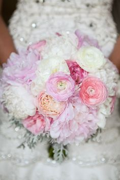 Pink & White Bridal Bouquet | L Photographie | from: theknot.com