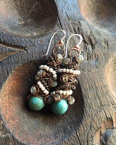 Tangled earrings, Copper, Silver, Magnesite Turquoise, seed Pearls, and Labradorite, ThePurpleLilyDesigns by ThePurpleLilyDesigns on Etsy https://www.etsy.com/listing/96137952/tangled-earrings-copper-silver-magnesite