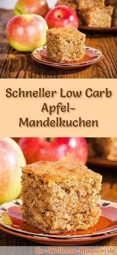 Rezept für Low Carb Apfel-Mandelkuchen - kohlenhydratarm, kalorienreduziert, ohne Zucker und Getreidemehl