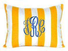 Monogrammed Pillow Yellow Stripe Personalized by FestiveHomeDecor Nautical Beach Decor Beach House Yellow Pillows Nursery Decor, $24.00