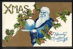 Santa Claus all in Blue Holding Globe with Flag at North Pole Postcard | eBay