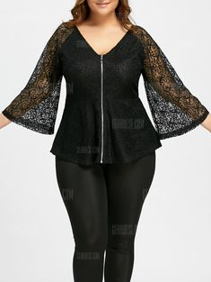 Buy Lace Plus Size Zip Up V-neck Blouse, sale ends soon. Be inspired: discover affordable quality shopping on Gearbest Mobile! Plus Size Womens Clothing, Plus Size Outfits, Plus Size Fashion, Clothes For Women, Size Clothing, Plus Size Blouses, Plus Size Tops, African Wear, African Fashion