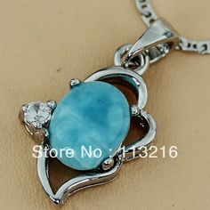 Casual  Wholesale Fashion  Larimar Jewelry 925  Silver Plated Pendant R3558  $10.93