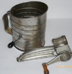 VTG Bromwell's 5 Cup Metal Measuring Flour Sifter & MOULI Cheese Grater France