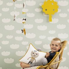 Papier Peint Enfant Cloud Ferm Living Nuages / Vert - beau et utile