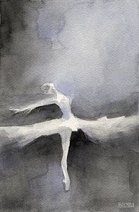 Modern Impressionist Art Painting - Ballet Dancer In White Tutu Watercolor Paintings Of Dance by Beverly Brown Prints