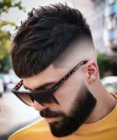 Trendy Caesar Haircut with Undercut and Beard - Best Caesar Haircut Styles For Men: Cool Men's Caesar Cut Fade Hairstyles Cool Mens Haircuts, Cool Hairstyles For Men, Straight Hairstyles, Men's Haircuts, Creative Haircuts, Hairstyles Videos, Modern Haircuts, Hairstyles 2018, Crop Haircut