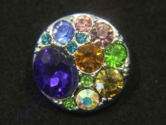 Noosa Style Chunk Snap On Charm Assorted Coloured Crystals For Noosa Style Bracelets, Rings & Jewellery