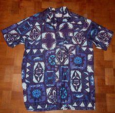 1eca1598 Gorgeous vtg 1960s tribal Pomare-Tahiti block print floral Hawaiian shirt  MEDIUM #PomareTahiti #