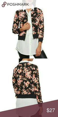 Bomber jacket NWT Has a zip front and its so in this season! Has a chic and feminine look and its great for layering! Jackets & Coats