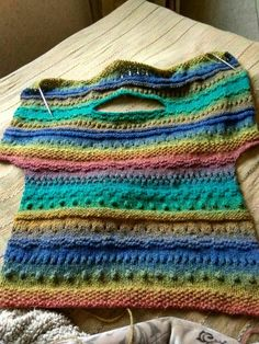 Rainbow stripes colorful sweater, Oversize sweater for women - Knitting stitches - Pull Crochet, Crochet Shirt, Knit Crochet, Knitting Stitches, Hand Knitting, Knitting Patterns, Crochet Patterns, Plus Size Sweaters, Sweaters For Women
