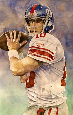 Eli Manning painting by sports artist Michael Pattison